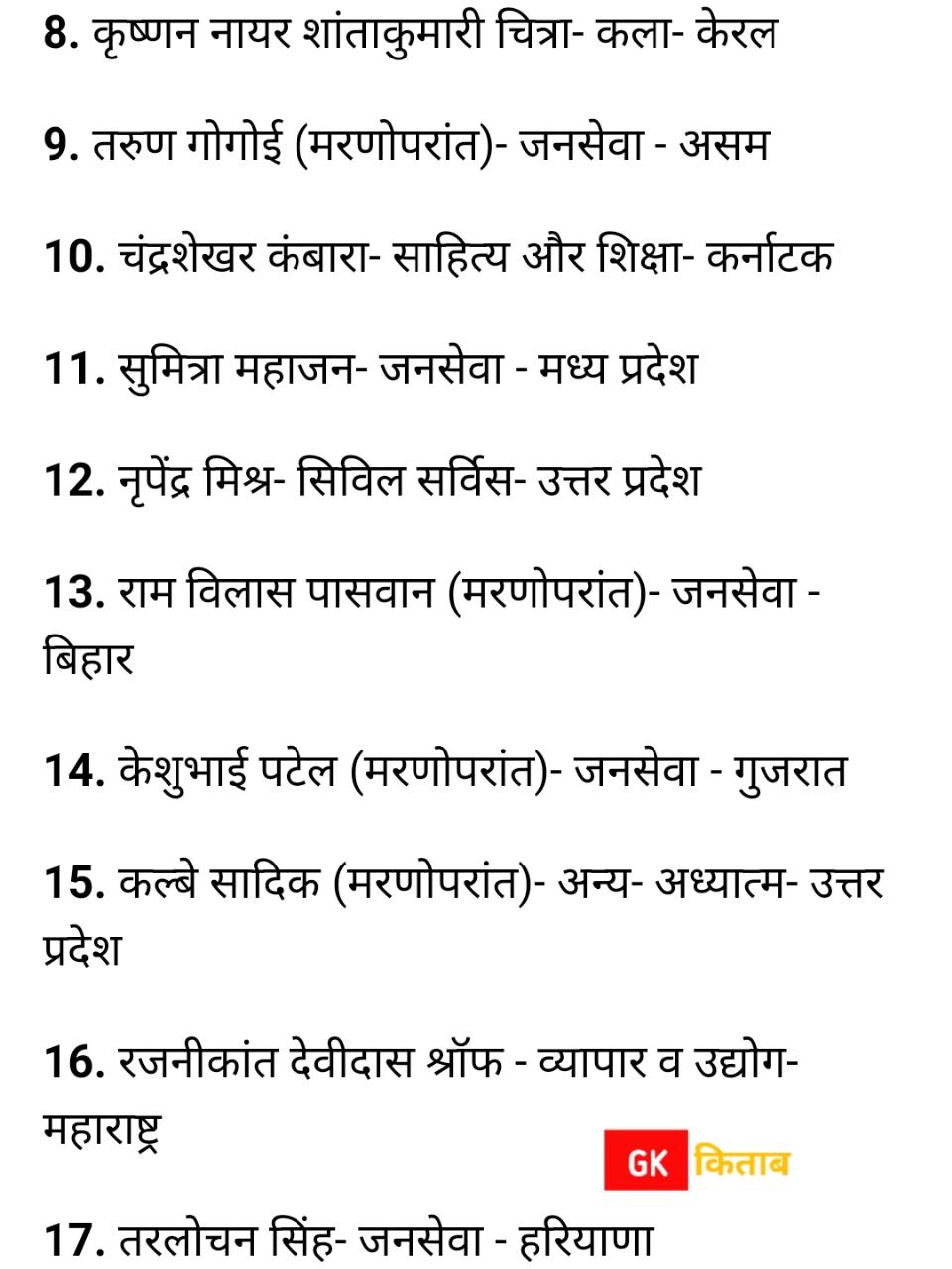Padma bhushan award 2021