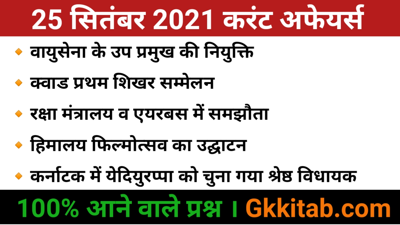 25 September 2021 Current Affairs in Hindi