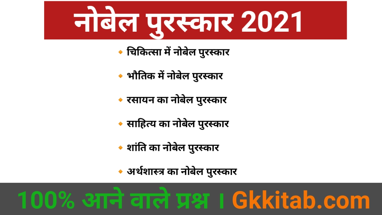 Nobel prize 2021 All Category in Hindi